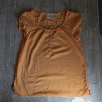 Pfirsichfarbene Kurzarm-Bluse