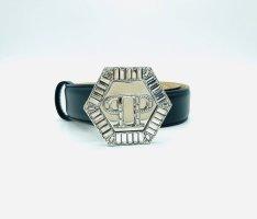 Philipp Plein Cinturón de cuero negro-color plata