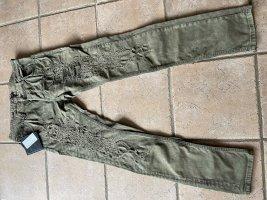 Philipp Plein Pantalon kaki gris vert-kaki coton