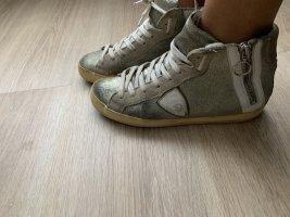 Philippe Model Sneaker alta grigio chiaro-argento