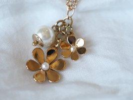 Piemonte Halskette, Farbe Gold, mit Perlen und Blumen, nagelneu, ungetragen