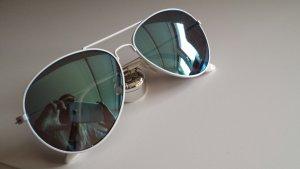 Piloten Aviator Sonnenbrille weiß türkis