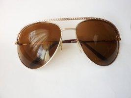 Pilotenbrille gold Sonnenbrille Aviator Style golden braune Gläser