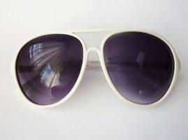Pilotenbrille stylische Sonnenbrille Aviator weiss NEU