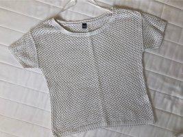 Pimkie Netz Shirt hellbeige mit goldenem Glitzer