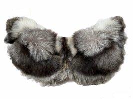 Pinko Futrzany płaszcz srebrny-antracyt Futro