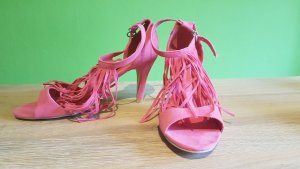 Rainbow Sandalias de tacón con barra en T rosa
