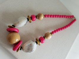 Pinke Weiße Kugel Kette Boho Halsschmuck Halskette Schmuck
