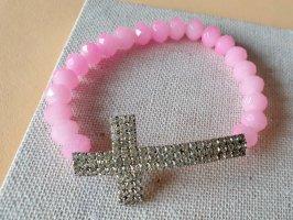 Pinkes Perlenarmband Strass Kreuz Schmuck