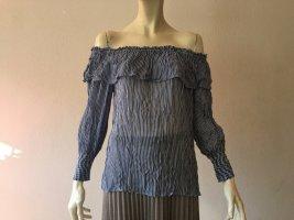 Pinko Bluse, Gr. 36, blau-weiß gestreift, Carmenausschnitt