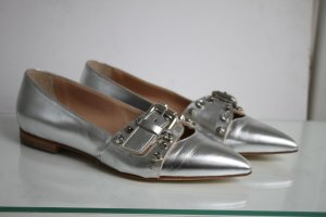 Pinko Leder Ballerina Spitze Form Silber Nieten Glitzer Leder Komplett 37