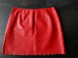 Pinko Falda de cuero rojo Cuero