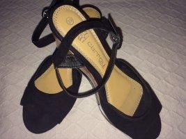Platform High-Heeled Sandal black-white leather