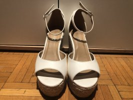 Plateauzool sandalen wit Imitatie leer
