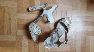 Sandalias con plataforma blanco-color oro