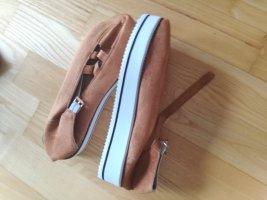 Platform Sandals cognac-coloured-natural white leather