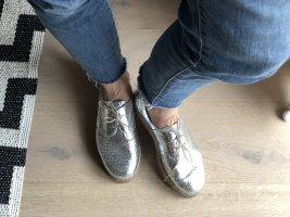 Plateau Sneaker Leder Silber