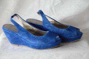Bagatt Escarpin compensé bleu cuir