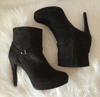 H&M Platform Booties black-silver-colored imitation leather