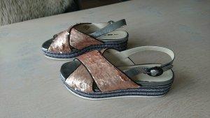 8 Sandalo con plateau multicolore Tessuto misto