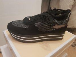 100% Fashion Sneakers met hak zwart-zilver