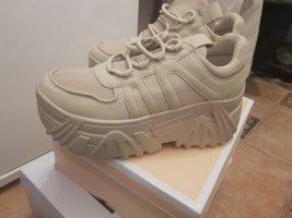 100% Fashion Sneakers met hak licht beige