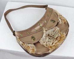 Plüsch Party Handtasche Tasche Playboy Bronzefarben Hellbraun Rund Halbmond Bag  Fellimitat