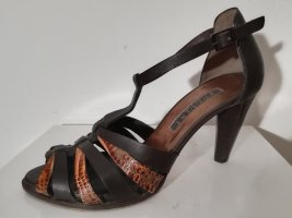 Pollini T-Strap Sandals brown-camel leather