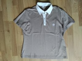 Poloshirt eterna Hellbraun Weiß Größe 40