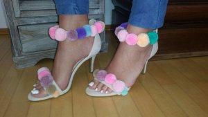 Pom Pom Sandalen High Heels 38 Bommel Leonordesigns mint rosa blogger hipster