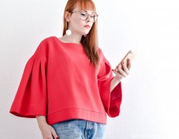 Unikat Oversized Sweater magenta-red