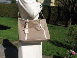 PRADA beige Canvas mit weißem Leder. Handtasche und Schultertasche mit abnehmbarem Schultergurt