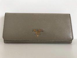 Prada Brieftasche, Portemonnaie, lang, Saffiano-Leder, grau