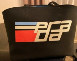 Prada Canapa Racing Logo Shopping Canvas Tote Bag