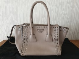 PRADA Glace Calf Tote Bag Grau (Pomice) Nieten Leder Handtasche