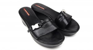 Prada Platform High-Heeled Sandal black-silver-colored leather