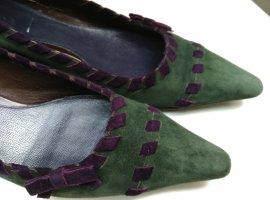 PRADA Leder Pumps Gr.39,5 Absatzschuhe Spitz Schuhe Made in Italy Schleife Grün Lila