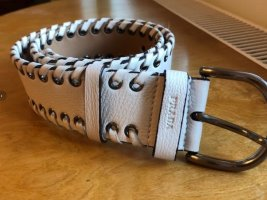 Prada Milano Leather Belt white leather