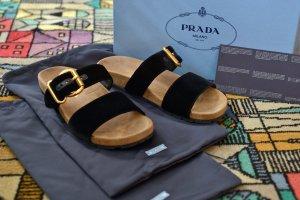 Prada Sandały rzymskie czarny-złoto Skóra