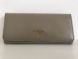 Prada Portemonnaie, grau, Saffiano- Leder, Klassiker, Original