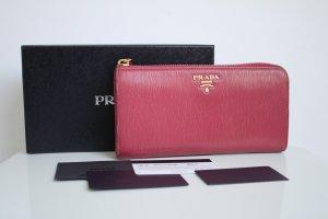 Prada Portmonee Geldbeutel Clutch Brieftasche Ibisco Pink Box ID Karte wie neu