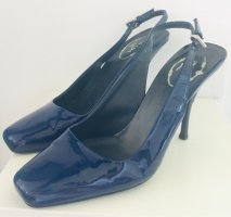 Prada Slingback Pumps dark blue leather