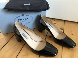 Prada Pumps Mary Janes Ballerinas schwarz Lackleder Blockabsatz NEU