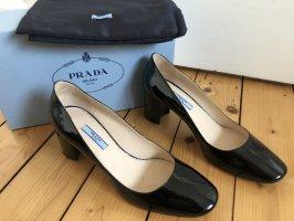 Prada Pumps Mary Janes Ballerinas schwarz Lackleder Blockabsatz NEU