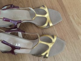 PRADA Riemchen sandaletten Pumps Gold Bordeaulack 37