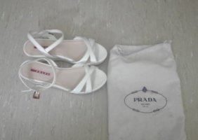 Prada Platform High-Heeled Sandal white