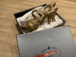 Prada Platform High-Heeled Sandal beige-camel leather
