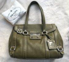 Prada Shoulder Bag olive green-silver-colored leather