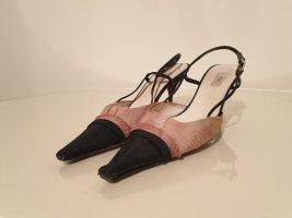 Prada Escarpin à bride arrière noir-vieux rose velours côtelé