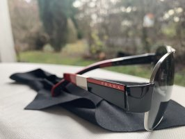 Prada Occhiale da pilota nero-carminio Vetro